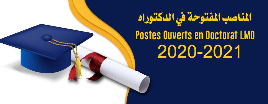 Postes Ouverts en Doctorat LMD 2020-2021